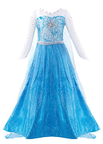 Padete Little Girls Anna Princess Dress Elsa Snow Party Queen Halloween Costume (5 Years, Blue Long -
