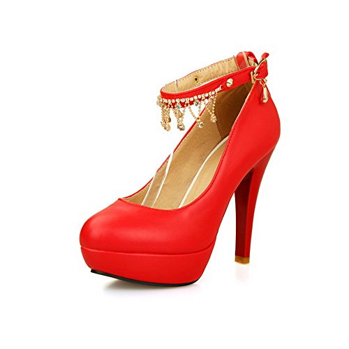 AmoonyFashion Womens Buckle High-Heels PU Solid Round Closed Toe Sandals Red nXWpXLKZL5