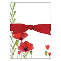 Wild Red Poppies Chunky Thick Bow Notepad, 150 sheets