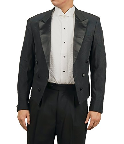 Men's Black Tuxedo Jacket with Tails Tailcoat (36R) by Broadway Tuxmakers