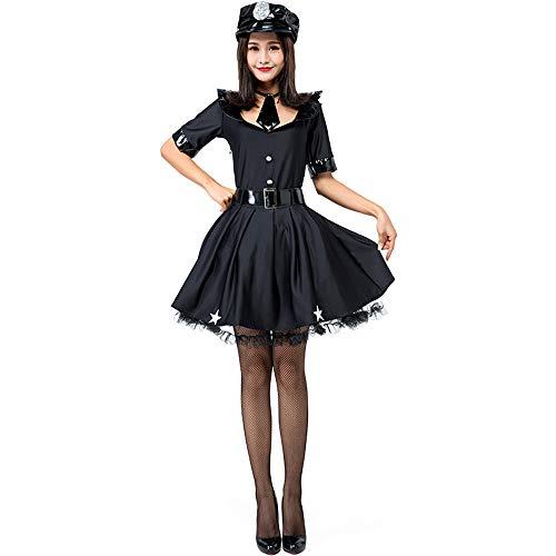 Honfill Women Cop Officer Costume Police Skirt Uniform Badge Belt with Handcuff