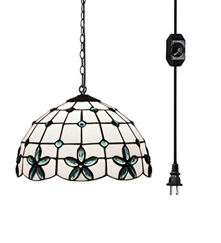 - Kiven Tiffany Chandelier with 15 Ft Plug in Cord, Metal Hanging Chain and On/Off Dimmer Switch, Perfect Vintage Swag Pendant Lights for Home Decor