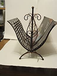 Copper Brown Wrought Iron Foldable Magazine Rack Basket
