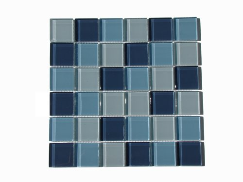 Interceramic Mosaic - Interceramic INSBG2X2ARC Shimmer Blends Glass Mosaic Tile, 2-by-2-Inch Tile on a 12-by-12-Inch Mosaic Mesh, Arctic Gloss