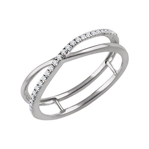 14k White Gold 0.1 Dwt Diamond Cross Over Ring - Size 6.5