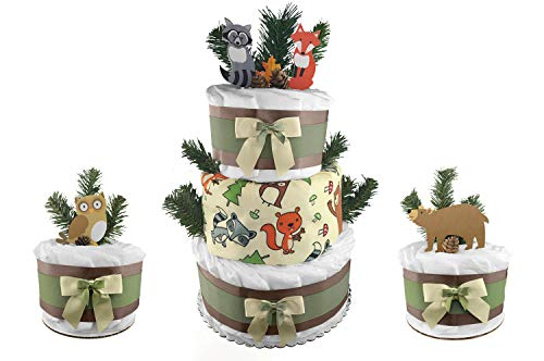 Woodland Creatures Set of (3) Diaper Cakes - 86 Diapers - Baby Shower Gift Set - Fox Owl Bear -