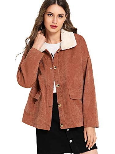 (Romwe Women's Casual Button Down Long Sleeve Collar Corduroy Jacket with Pockets Orange Large)