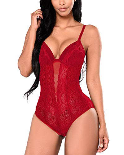 Aranmei Women's Deep V Lace Bodysuit Sna-p Crotch Leotard Teddy Lingerie (Wine Red Medium)