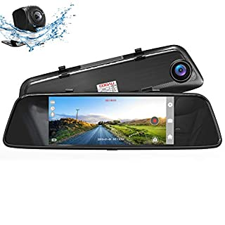 """COOAU Mirror Dual Night Vision Dash Cam, 7"""" 1080P Full HD Touch Screen Front and Rear with Dual 170°Wide Angle, Parking Monitor, Motion Detection, G-Sensor, WDR, Loop Recording"""