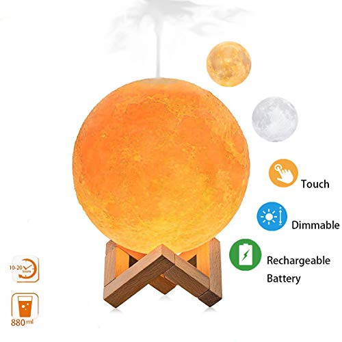 Upgraded Version Moon Lamp Humidifier, LED 3D Printing Moon Night Light Mist Humidifier with Stand, Touch Control and USB Rechargeable Air Humidifiers for Bedroom Living Room Baby (3 Colors)