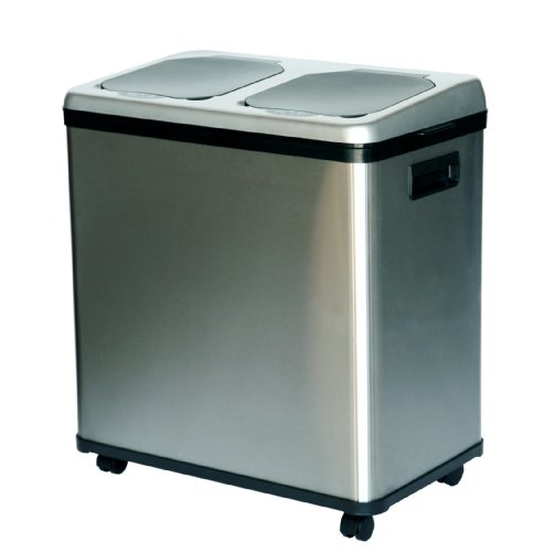 iTouchless Stainless Steel Trash Can / Recycler, Automati...