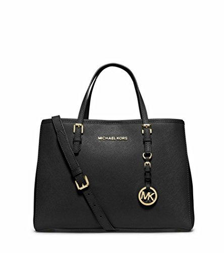 Michael Kors Stylish Waterproof Jet Set Travel Saffiano Leather Medium Tote Black