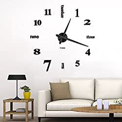 Vangold Frameless DIY Wall Clock 3D Mirror Wall Clock Large Mute Wall Stickers for Living Room Bedroom Home Decorations (2-Year Warranty) (Black-14)