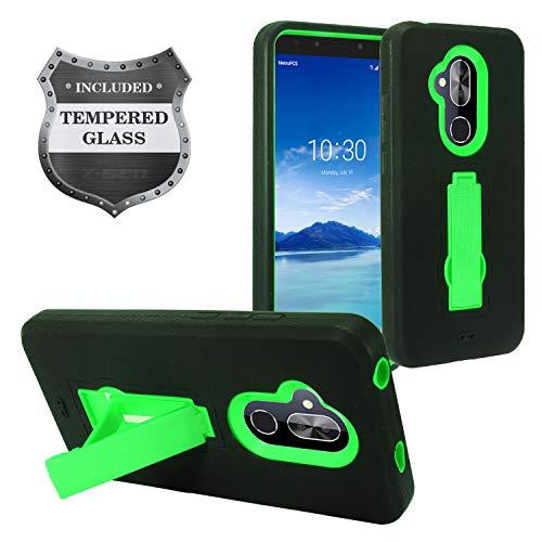 (Alcatel 7 Phone 6062W, T-Mobile REVVL 2 Plus (2018), REVVL2 Plus 6062Z - Hybrid Armor Case w/Stand + Tempered Glass Screen Protector - ZZ0 Green)