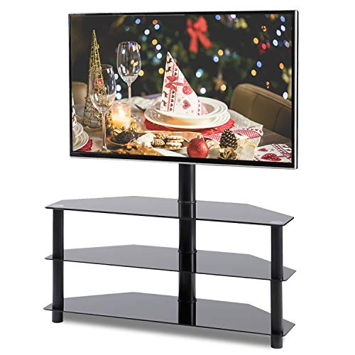 Lcd Shelf Top Tv (Rfiver Black Corner Floor TV Stand with Swivel Mount Bracket for 32 to 65 inch LED, LCD, OLED and Plasma Flat/Curved Screen TVs, 3-Tier Tempered Glass Shelves for Audio Video TW2002)