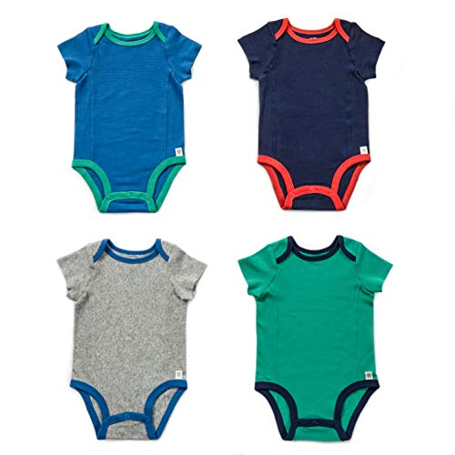 - Fruit of the Loom Baby 4-Pack Short-Sleeve Grow & Fit Bodysuits - Unisex, Girls, Boys (0-6 Months, Blue, Grey, Green, Navy)