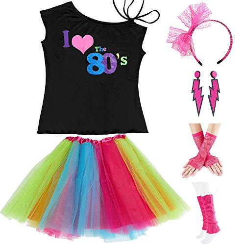 Womens 80s Accessories, I Love The 80's / 80s Pop/Sexy Lips Shoulder T-Shirt Outfit/Tutu Skirt/Neon Fanny Packs (Small, Black LoveTShirt + TutuSkirt2) ()