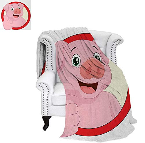 Print Artwork Image Pig Mascot with Thumbs Up Animal Illustration with a Circular Frame Warm Microfiber All Season Blanket 62