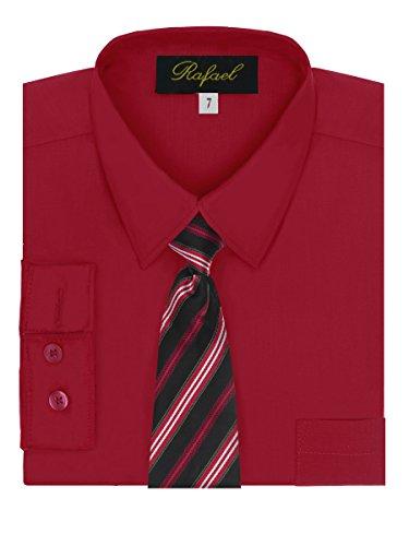 Red Silk Christmas Dress (Boy's Dress Shirt & Tie - Red,)