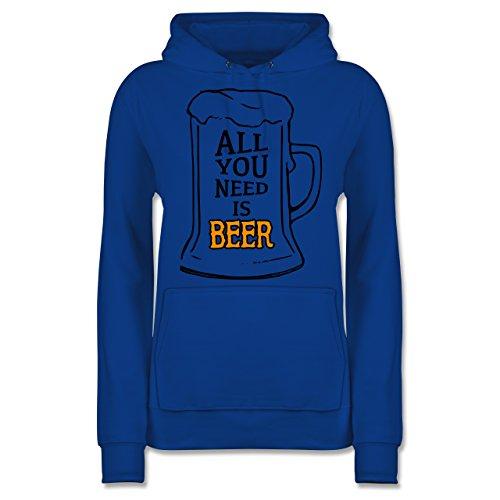 Shirtracer Oktoberfest Damen - All You Need is Beer - Damen Hoodie Royalblau aJfI3OZa