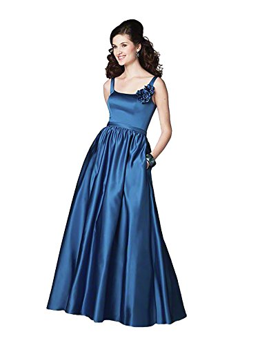 Indigo Satin Bridesmaid Dress (Alfred Angelo 7183 Satin Tank Long Ball Gown Dress (12,)