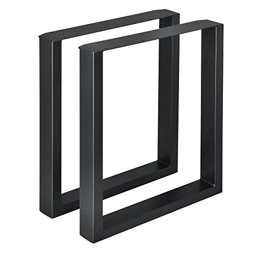 [en.casa] 2 x Conjunto de Patas de Mesa - Set de 2X Patas de Mesa - Metal - Patas de los Muebles - 60 x 72 cm - para Mesa de Comedor - Armazon de Mesa - con proteccion para Suelo - Negro