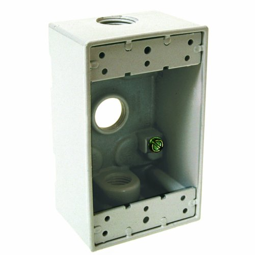 Raco Weatherproof Boxes - Hubbell 5320-1 Bell Raco Weatherproof Box, 1 Gang, 18.3 Cu-in X 4-1/2 in L X 2-3/4 in W X 2 in D, Cubic inches, White