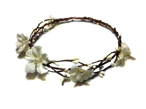 White Flowers and Pearls Woodland Flower Crown- Bridal, Circlet