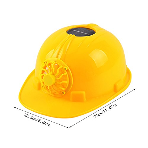 Susada Hardhat Yellow Solar Powered Cooling Fan Safety Helmet Work Cap Head Protect ()