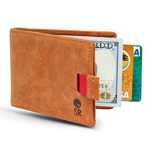Smiling Rhino Minimalist Leather Wallet for Men - RFID Blocking Wallets with Money Clip - Slim Bifold Card Holder, Camel