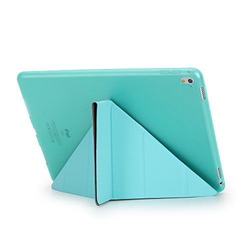 iPad Pro 9.7 Folio Case, DIGIC Multi-fold Stand Holder Flip Origami iPad Tablet Protector Cover Leather Carrying Case with Smart Auto Sleep/Wake for Apple iPad Pro 9.7, tiffany blue