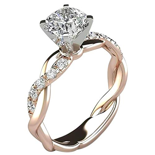 Tophappy Rings for Women Girls, Rhinestone Engagement Rings Diamond Exquisite Rings Wedding Ring Jewelry Gifts for Mother's Day (B, 5)