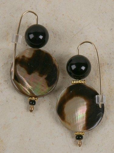 Earrings - Tiger Cowrie Shell and Black Crystal Bead -