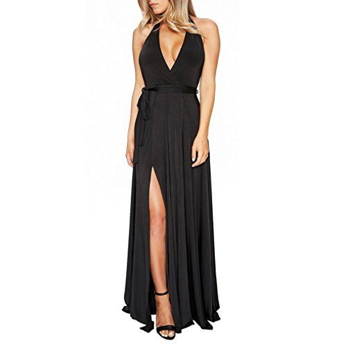 long black halter evening dress - 4