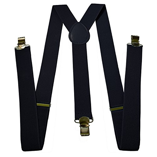 Mens Suspenders - Adjustable Solid Straight Clip - Y Back Style by Mobile TrackR