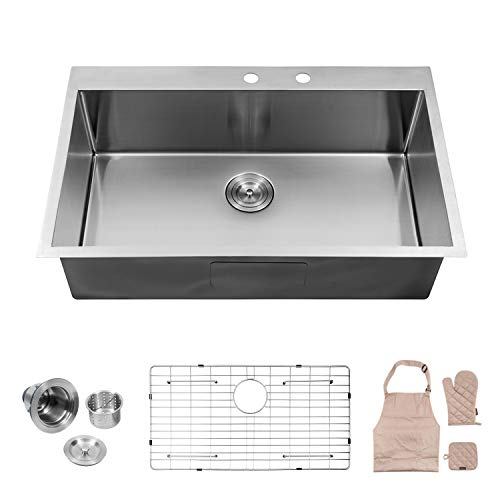10' Satin Gloves (Lordear LT3322R1 33 x 22x 10 Inch Drop-in Topmount 16 Gauge R10 Tight Radius Stainless Steel Kitchen Sink Single Bowl)