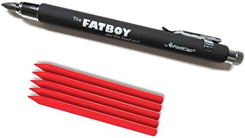 Lápiz mecánico FastCap Fatboy Extreme de 55 mm con 5 recambios de crayón rojo