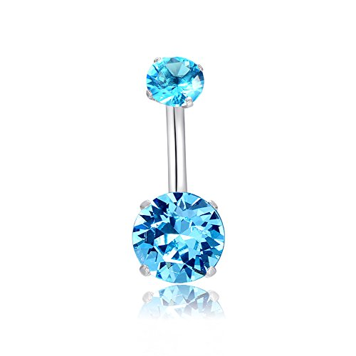 (HQLA 14G 316l Surgical Stainless Steel Belly Navel Button Rings with Dangling Sparkly AAA Cubic Zirconia, Screw Bar Design Body Piercing (Blue))