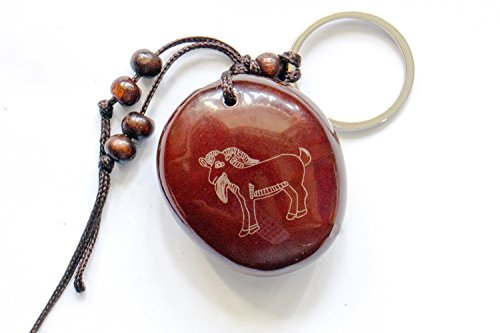 Zodiac Sheep - Handmade Chinese Zodiac Lohan Beans Amulets Lucky Charm Stone Bring Good Luck, Money and Love in Your Life, Crafted at Thailand Temple (B) (Sheep)