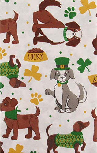 St. Patrick's Day Lucky Dogs Vinyl Flannel Back Tablecloth (52