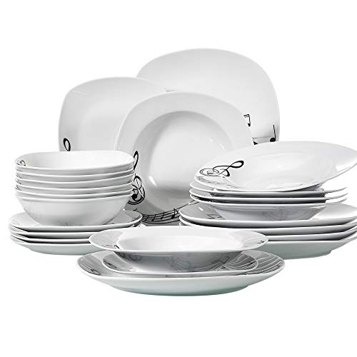 VEWEET 24-Piece Tableware Set Musical Note Patterns Plate Sets Porcelain Kitchen Plates with Dinner Plate, Soup Plate, Dessert Plate, Bowl, Service for 6 (MELODY Series) ()