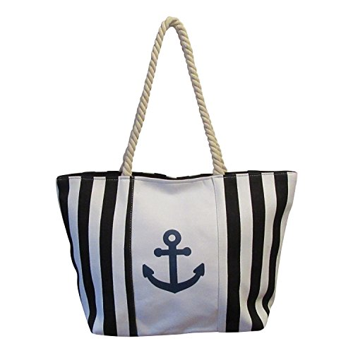 Black White Stripe Cotton Canvas Zipper Beach Tote HandBag for (Black Striped Handbag)
