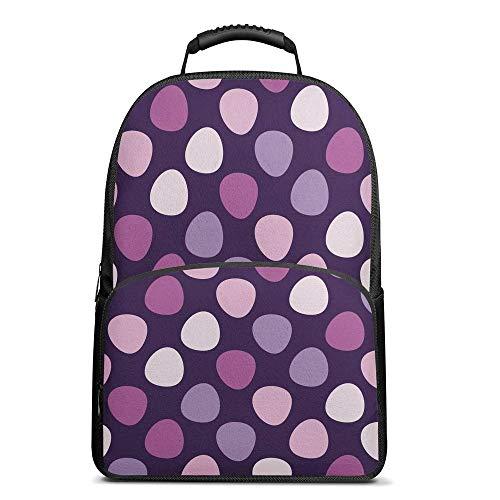 Purple Polka Dot Backpack School Book Bag Casual Camping Daypack Bag Lightweight for Boys Girls 17 Inch Laptop Bag (17 Inch Laptop Bag Polka Dot)
