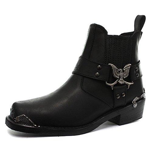 Grinders aigle emblme cheville Biker Belles bottes noires avec Toe Cap en acier Visible