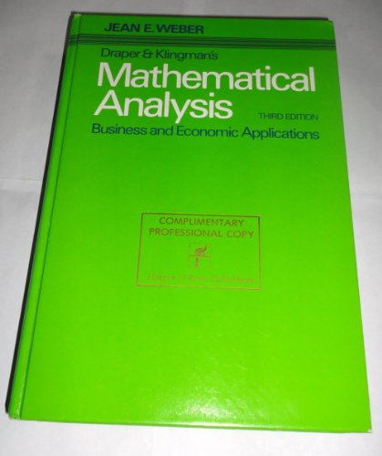 Mathematical analysis: Business and economic applications