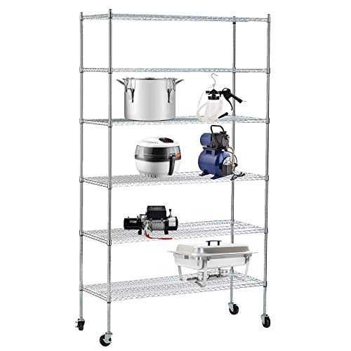 SUNCOO 6 Tier Wire Shelves Unit with stiffeners Commercial Adjustable Stainless Steel Shelf Systems On Wheels Wire Shelves Storage Racks Kitchen Garage Shelving 46