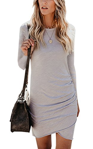 ECOWISH Womens Dresses Summer Casual Ruched Short Sleeve Irregular Bodycon Mini Dress 105 Gray L by ECOWISH