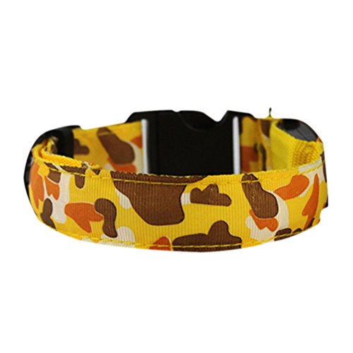 Uniquorn 2017 New Fashion LED Light Collar Camouflage Pet Collar Night Light Flash Dog Seat Belt 7 Color Optional