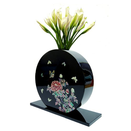Neue Vase Topf, Strauß mit Perlmutt Schmetterlinge, schwarz, rund