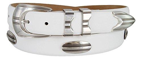 Belt Skinny Leather Calf (Hagora Men's Italian Calfskin Eclectic Textures Conchos 1-1/8